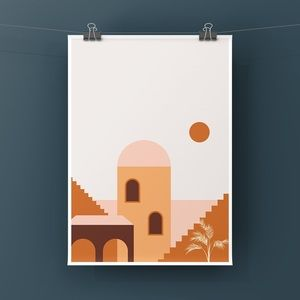 Modern boho terracotta brown graphic art print